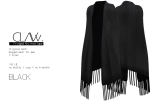 C L A Vv. Fringed Knitted Cape Black